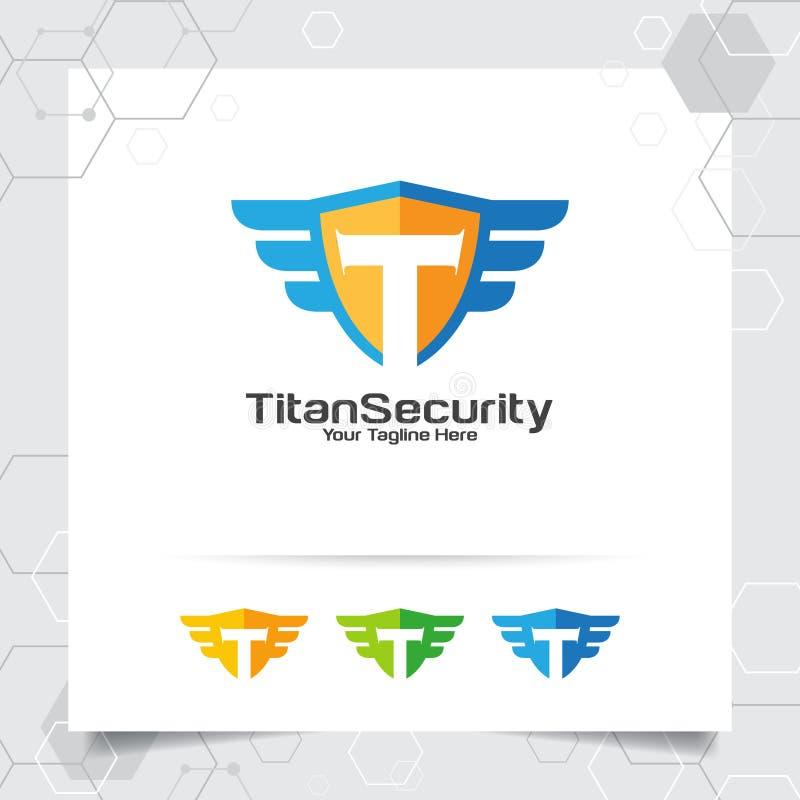 Begrepp för vektor för design för logo för sköldbokstav T av sköldsäkerhet och T-symbol inom för lås för internetdataavskildhet stock illustrationer