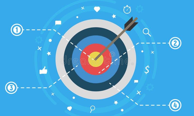 Begrepp för vektor för design för målmarknadsföring plant Vektoraffär som är infographic med sociala massmediasymboler Försäljnin vektor illustrationer