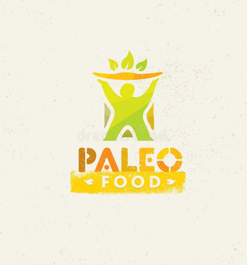 Begrepp för vektor för äta för Paleo mat rent på organisk bakgrund royaltyfri illustrationer