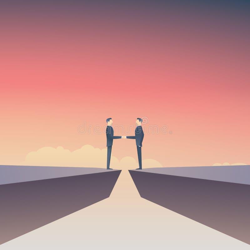 Begrepp för vektor för affärsavtal med affärsman som två gör handskakningen över mellanrum Affärsförhandlingsymbol stock illustrationer