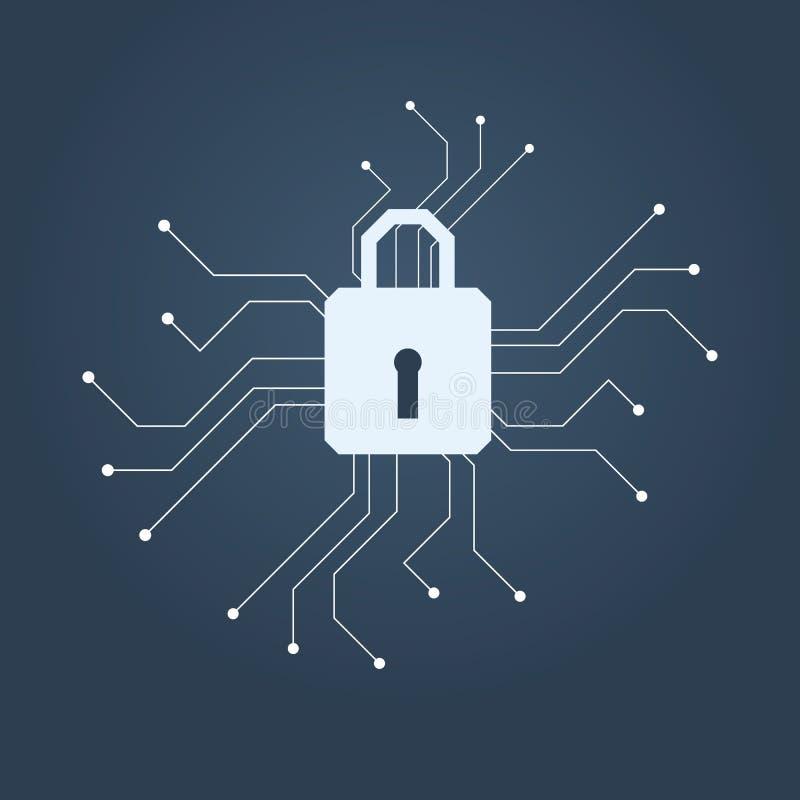 Begrepp för vektor för datasäkerhet med låset på digitalt symbol Begrepp av dataskydd, kryptering, antivirus, firewall stock illustrationer