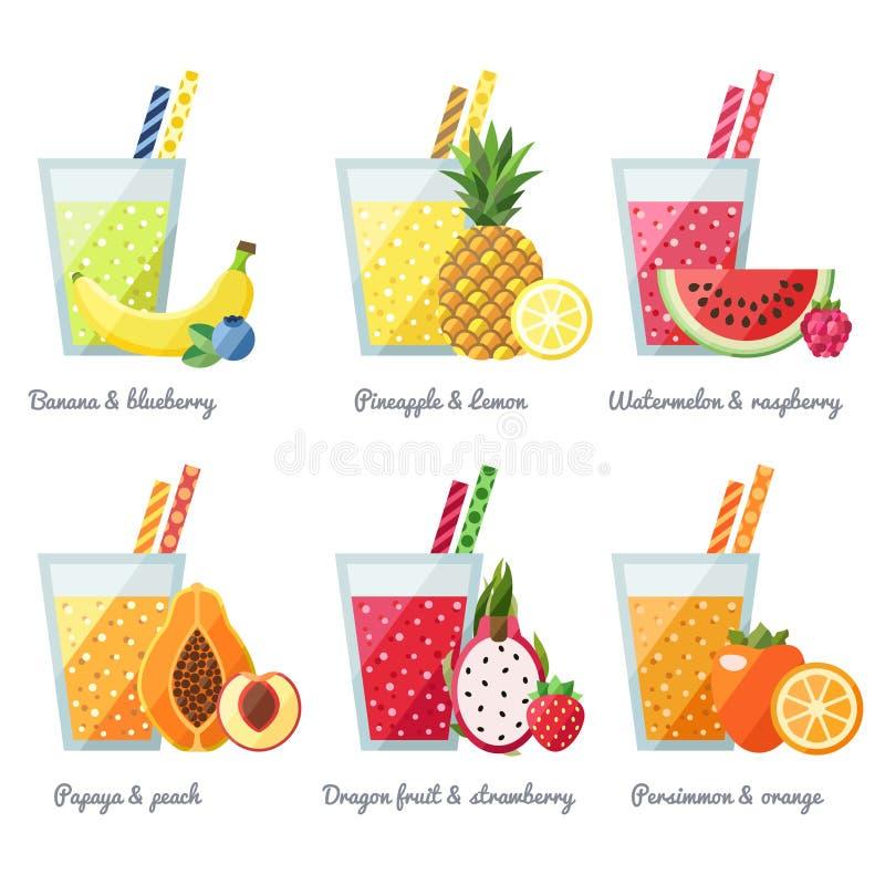 Begrepp för vektor för fruktsmoothie (fruktsaft) Menybeståndsdel för kafé eller restaurang Modern plan design vektor illustrationer