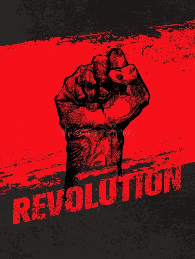 Begrepp för vektor för Grunge för social protest för revolution idérikt Frihetsillustration på grov Grungebakgrund vektor illustrationer