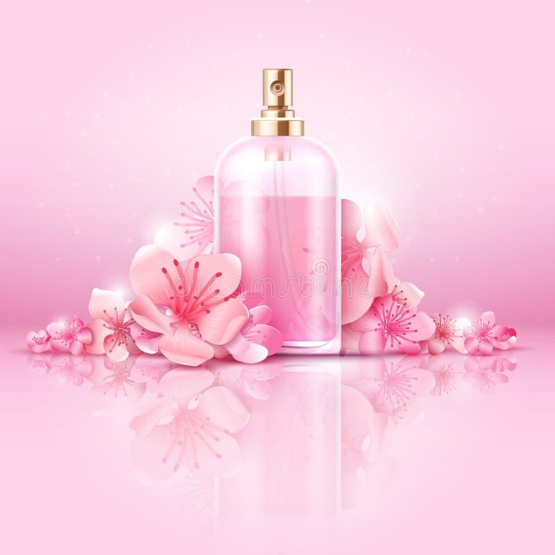 Begrepp för vektor för hudomsorg kosmetiskt skönhetsmedlet med vitaminet och collagenen i flaska och sakura blommar stock illustrationer