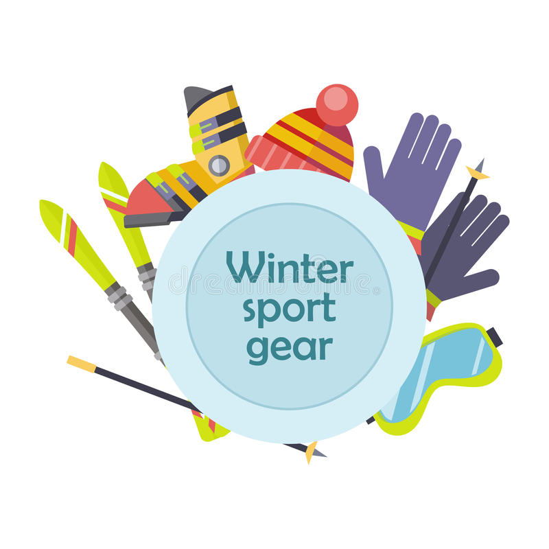 Begrepp för vektor för kugghjul för vintersport i plan design royaltyfri illustrationer
