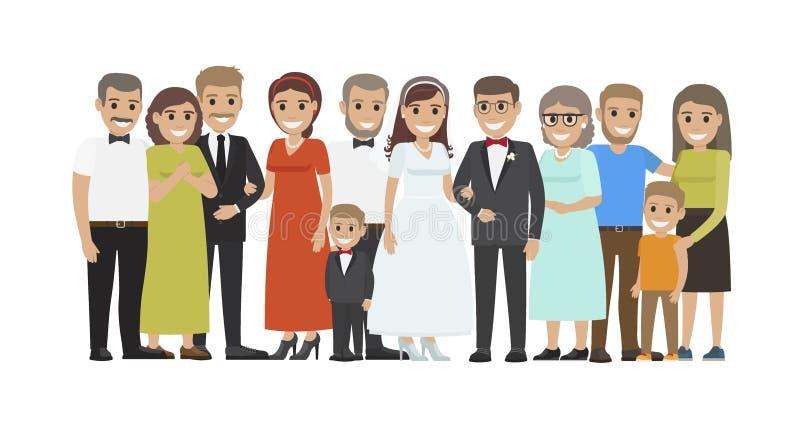 Begrepp för vektor för lägenhet för stående för bröllopgästgrupp royaltyfri illustrationer