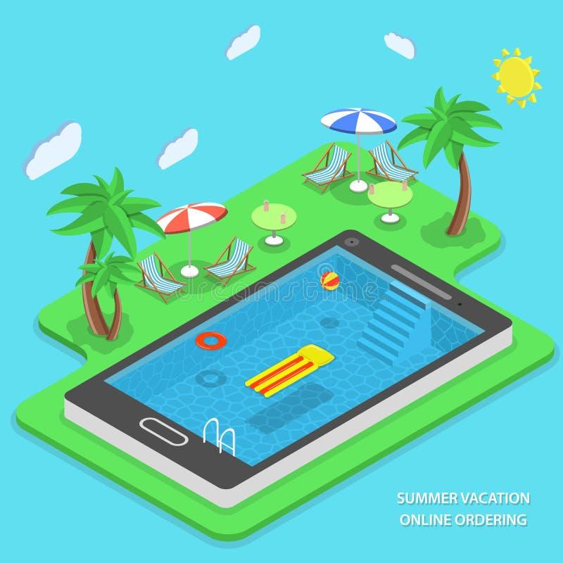 Begrepp för vektor för sommarsemester online-beställa stock illustrationer