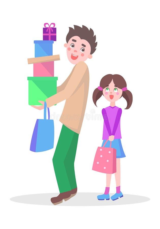 Begrepp för vektor för lägenhet för familjshoppingtecknad film vektor illustrationer