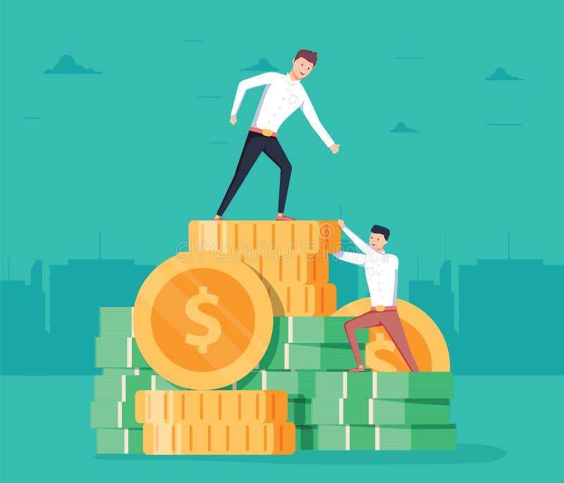 Begrepp för vektor för lönlöneförhöjningaffär Rusa stegeklättringen, symbol för lönförhöjning med affärsmanklättring royaltyfri illustrationer