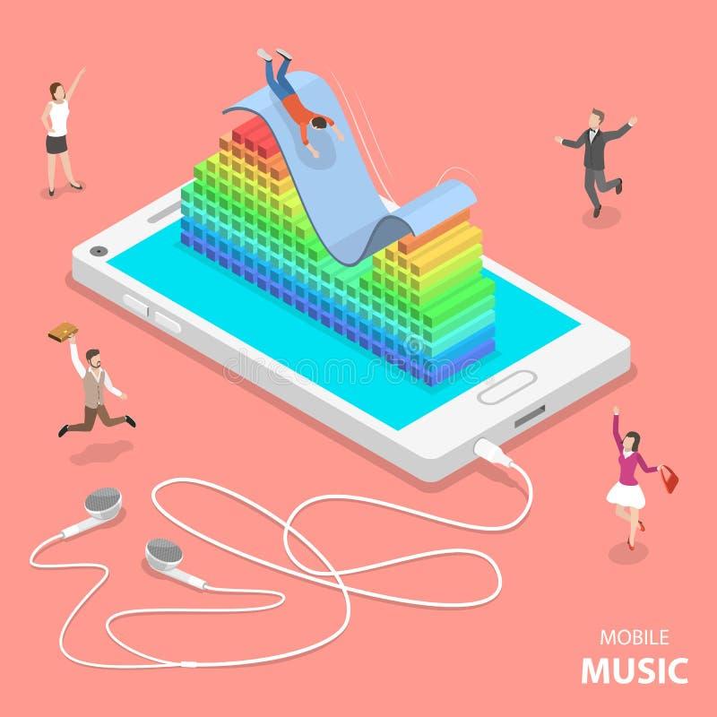Begrepp för vektor för mobil musiklägenhet isometriskt vektor illustrationer