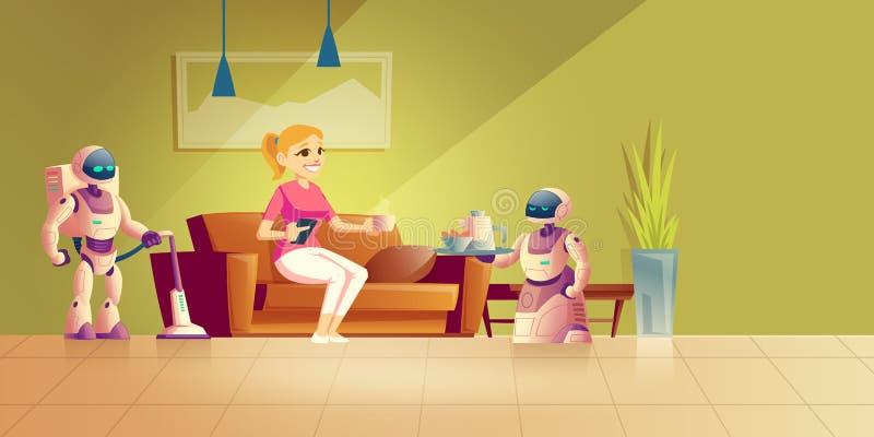 Begrepp för vektor för tecknad film för husrobotteknologier stock illustrationer