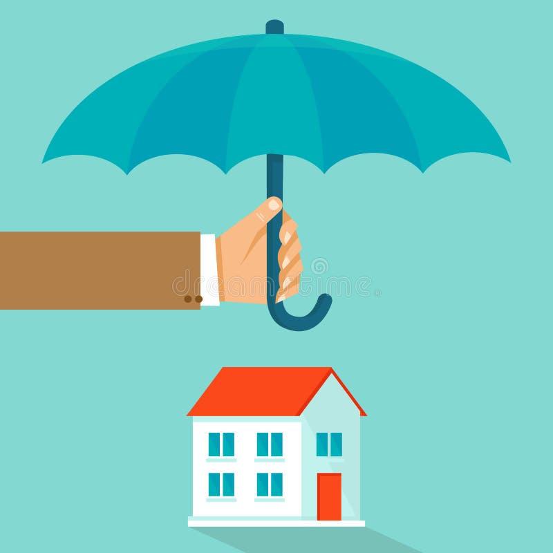 Begrepp för vektorhusförsäkring i plan stil stock illustrationer