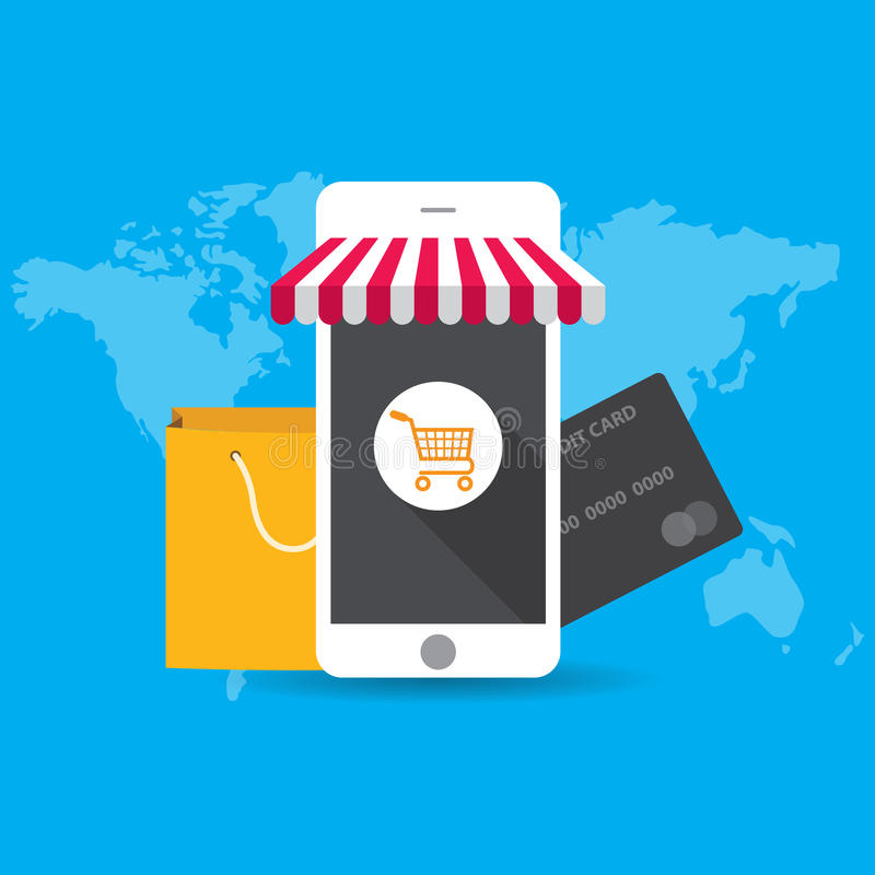 Begrepp för vektorillustrationaffisch för e-komrets, online-shopping och att betala per klick, köpande produkter i internet vektor illustrationer