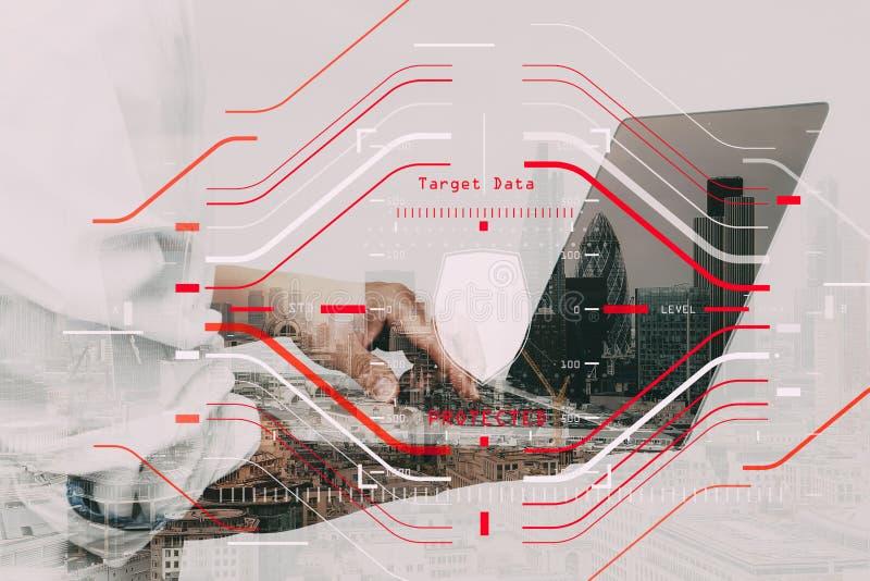 Begrepp för verifikation för skydd för sköld för datasäkerhetssystem med arkivbild