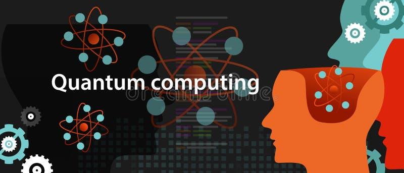 Begrepp för vetenskap för teknologi för fysik för kvantberäkning stock illustrationer