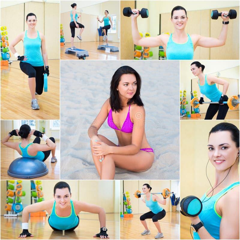 Begrepp för viktförlust - härlig sportig kvinna i idrottshall och på bet royaltyfria bilder