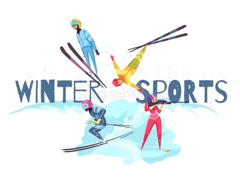 Begrepp för vintersportar royaltyfri illustrationer