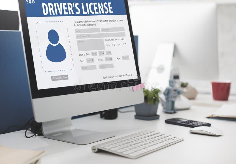 Begrepp för Webpage för applikation för registrering för chaufförlicens arkivbild