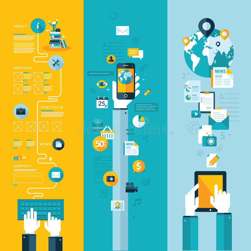 Begrepp för website-, mobil- och minnestavlaservice stock illustrationer
