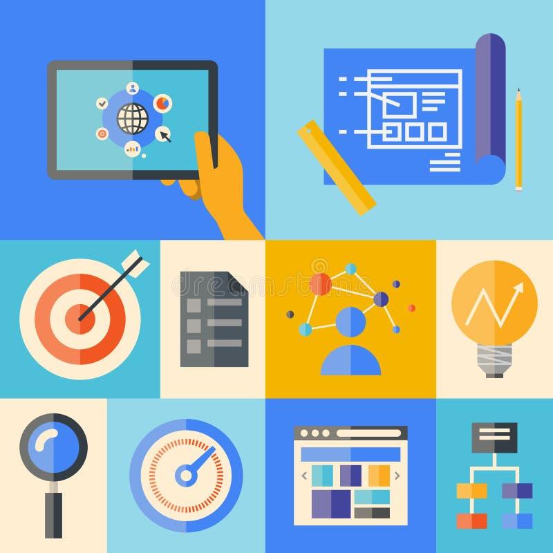Begrepp för Websiteutvecklingsillustration royaltyfri illustrationer