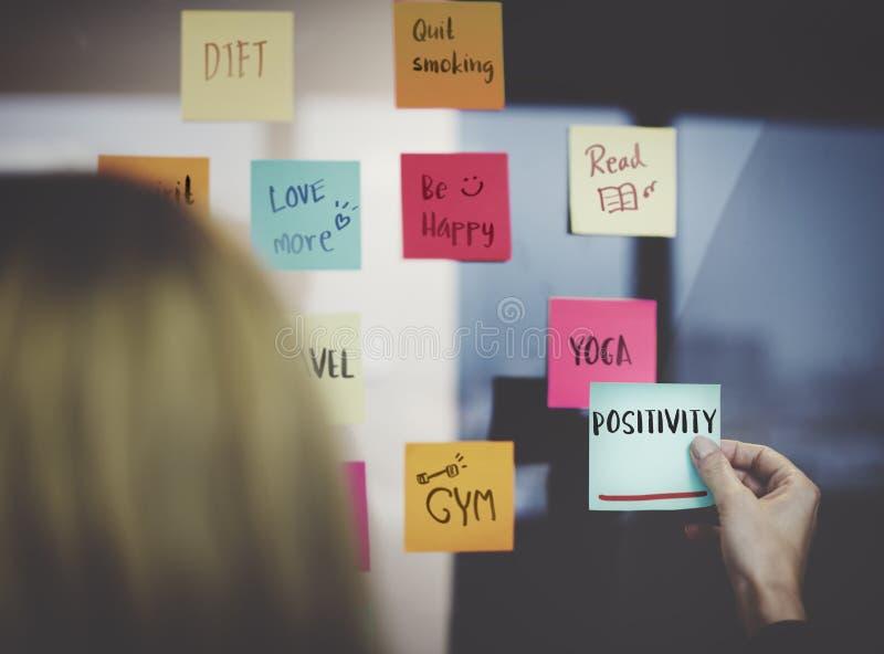Begrepp för Wellness för PositivityMindset tänkande arkivbild