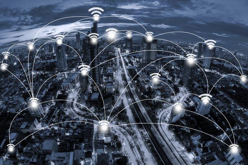 Begrepp för Wifi nätverksanslutning och nätverksaffärsconection s royaltyfria foton