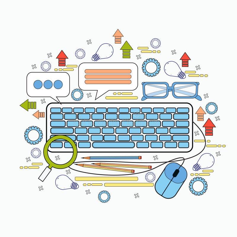 Begrepp för Workspace för affär för symboler för arbetsplats för tangentbord för kontorspersonal skrivbords- vektor illustrationer