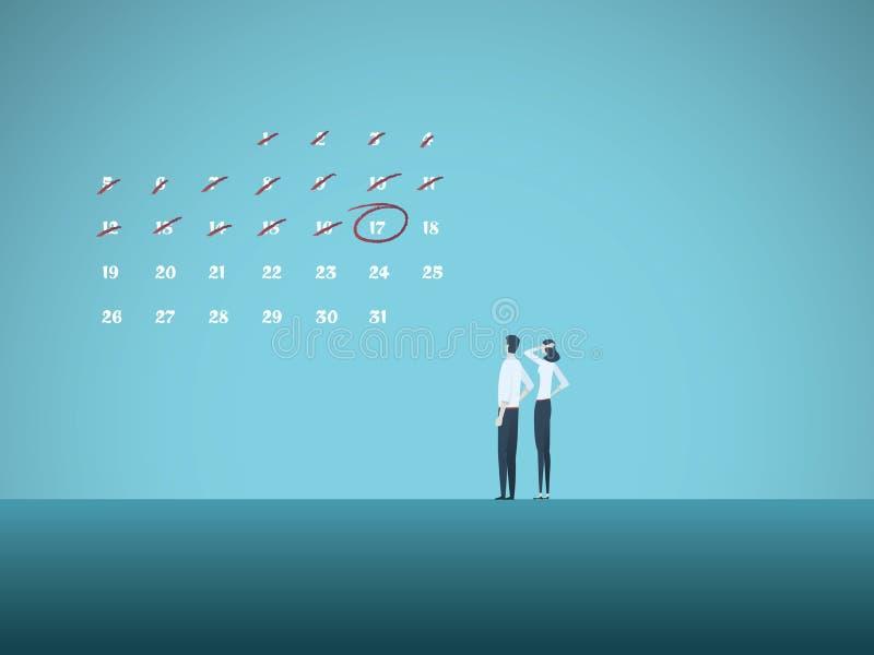 Begrepp f?r aff?rsstopptidvektor med mannen och kvinnan som ser kalendern Symbol av projektledning, milstolpar royaltyfri illustrationer