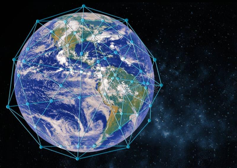 Begrepp f?r anslutning f?r globalt n?tverk best?ndsdelar f?r tolkning 3D av denna bild som m?bleras av NASA royaltyfri illustrationer