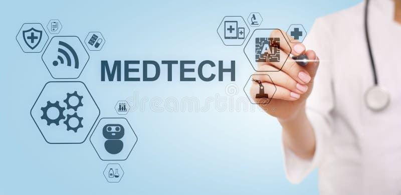 Begrepp f?r data f?r medicinsk teknologi f?r information om Medtech internet f?r integration stort p? den faktiska sk?rmen Manipu arkivbild
