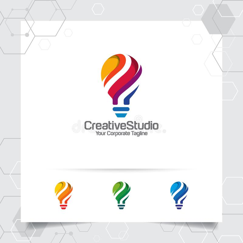 Begrepp f?r design f?r kulalogoid? av den digitala f?rgrika symbol- och symbolslampvektorn Smart id?logo som anv?nds f?r studion, vektor illustrationer