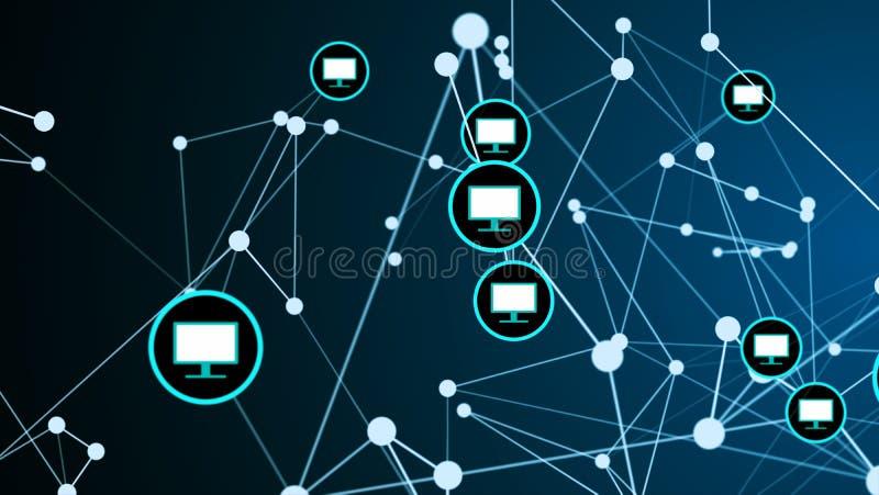 Begrepp f?r digital teknologi f?r n?tverk f?r anslutning f?r sammanl?nkning f?r bildsk?rm f?r datorsk?rm futuristiskt stock illustrationer