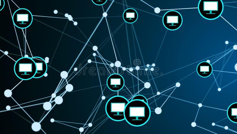 Begrepp f?r digital teknologi f?r n?tverk f?r anslutning f?r sammanl?nkning f?r bildsk?rm f?r datorsk?rm futuristiskt royaltyfri illustrationer