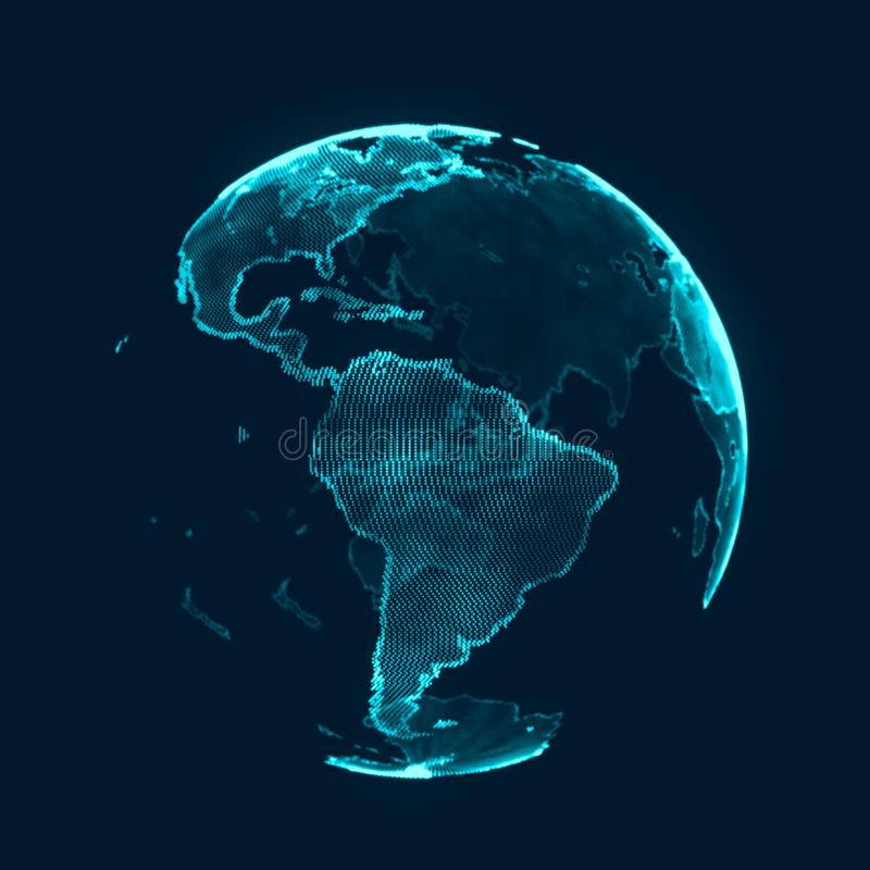 Begrepp f?r globalt n?tverk V?rldskartapunkt Planetjord f?r globalt n?tverk framf?rande 3d arkivbilder