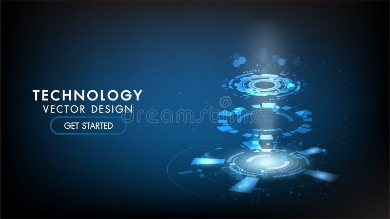 Begrepp f?r kommunikation f?r abstrakt teknologibakgrund h?gteknologiskt, teknologi, digital aff?r, innovation, scienceplats stock illustrationer