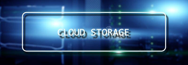 Begrepp f?r n?tverk f?r lagring f?r Cloud Computing teknologiinternet p? suddigt supercomputerserverrum royaltyfri illustrationer
