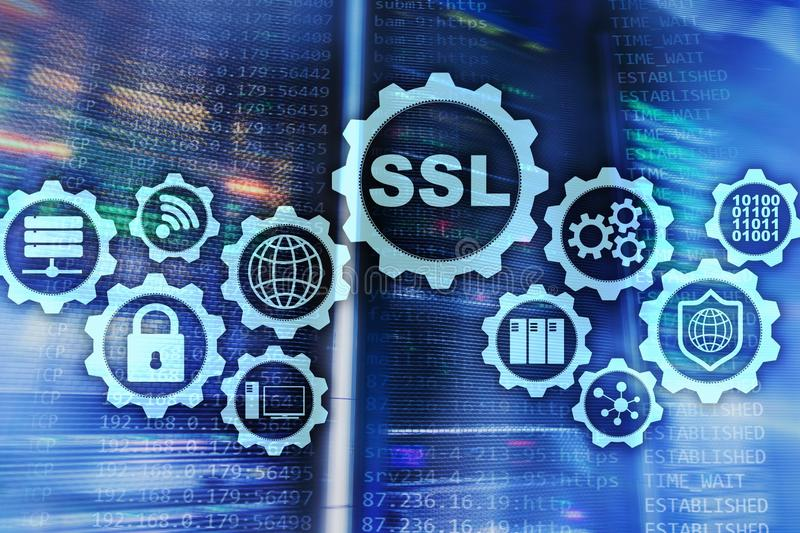 Begrepp f?r SSL Secure Sockets Layer Cryptographic protokoll ger s?krade kommunikationer Serverrumbakgrund stock illustrationer