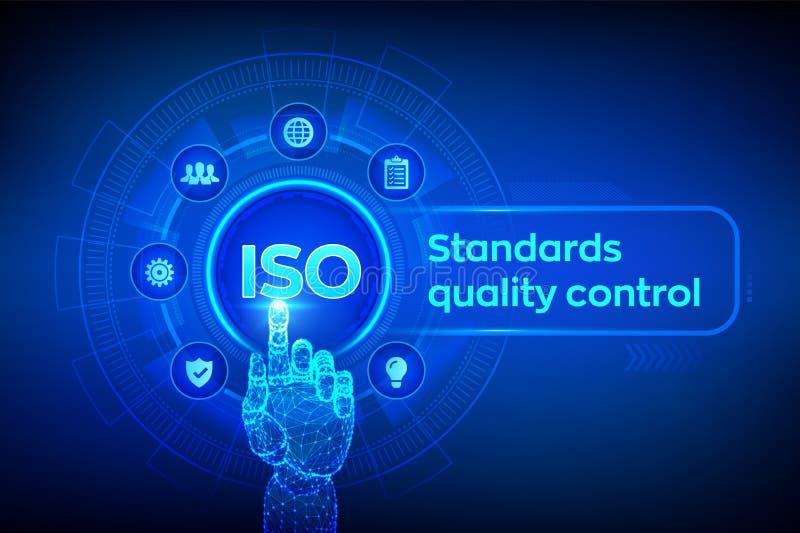 Begrepp f?r teknologi f?r aff?r f?r garanti f?r f?rs?kring f?r kontroll f?r ISO-normal kvalitets- Service för bransch för ISO-sta royaltyfri illustrationer