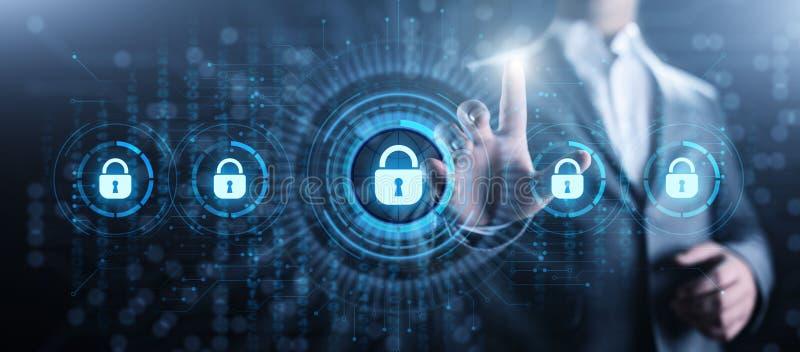 Begrepp f?r teknologi f?r internet f?r avskildhet f?r information om skydd f?r Cybers?kerhetsdata stock illustrationer