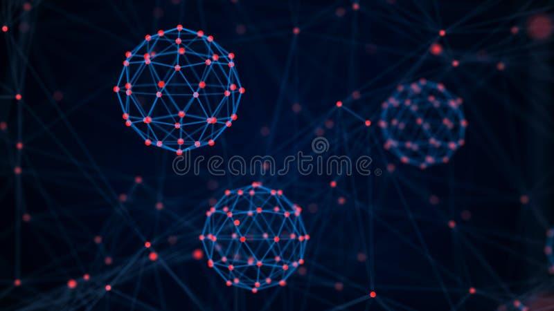 Begrepp f?r teknologi f?r kvarterkedja Anslutningar med punkter och linjer Stor datavisualization framf?rande 3d royaltyfri illustrationer