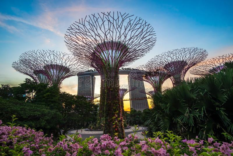 Begrepp, gränsmärke och populärt för Singapore lopp för turist- dragningar arkivbild