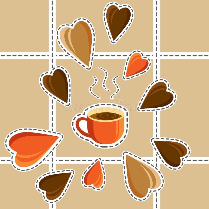 Begrepp - jag gillar kaffe Morgon Smakligt kaffe Tecknad filmstil stock illustrationer