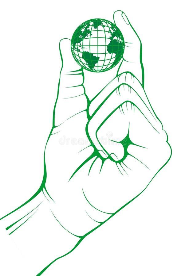 Begrepp Jord räcker in Uppehällefingrar vektor illustrationer