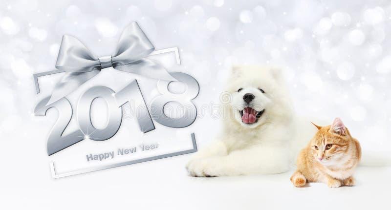 Begrepp, katt och hund för lyckligt nytt år för djur med gåvaaskramen arkivbild