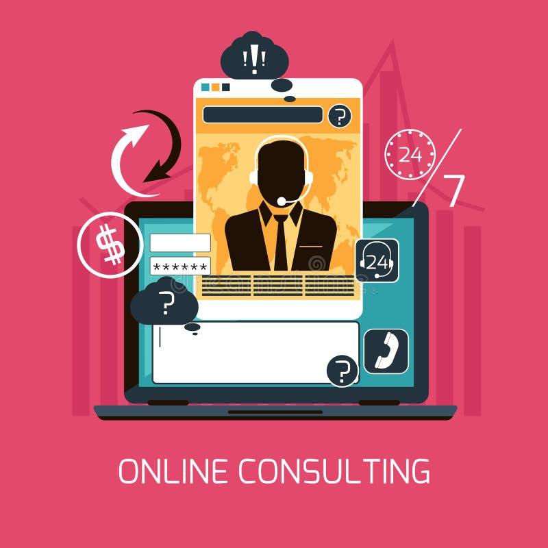 Begrepp kundonline-för konsulterande service stock illustrationer