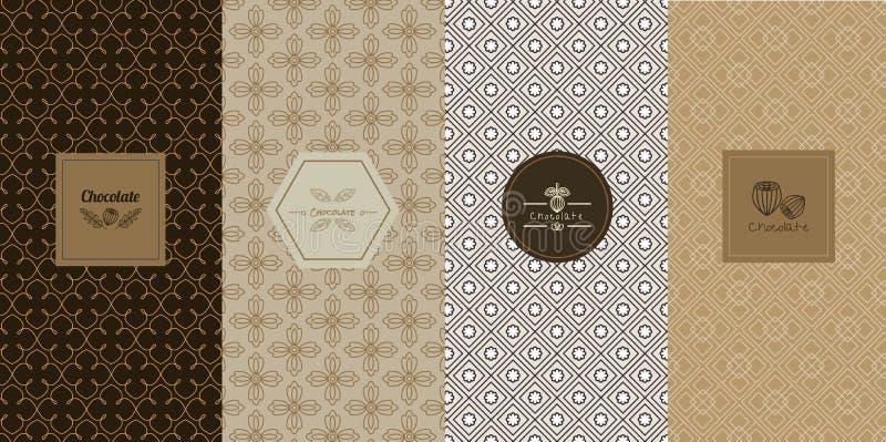 Begrepp och mallar för vektorlogodesign i moderiktig linjär stil royaltyfri illustrationer