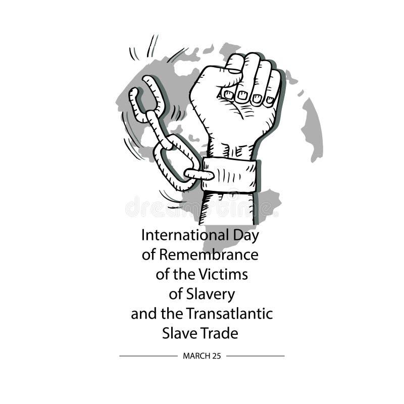 Begrepp på internationell dag av minnet av offren av slaveri och den transatlantiska slav- handeln vektor illustrationer