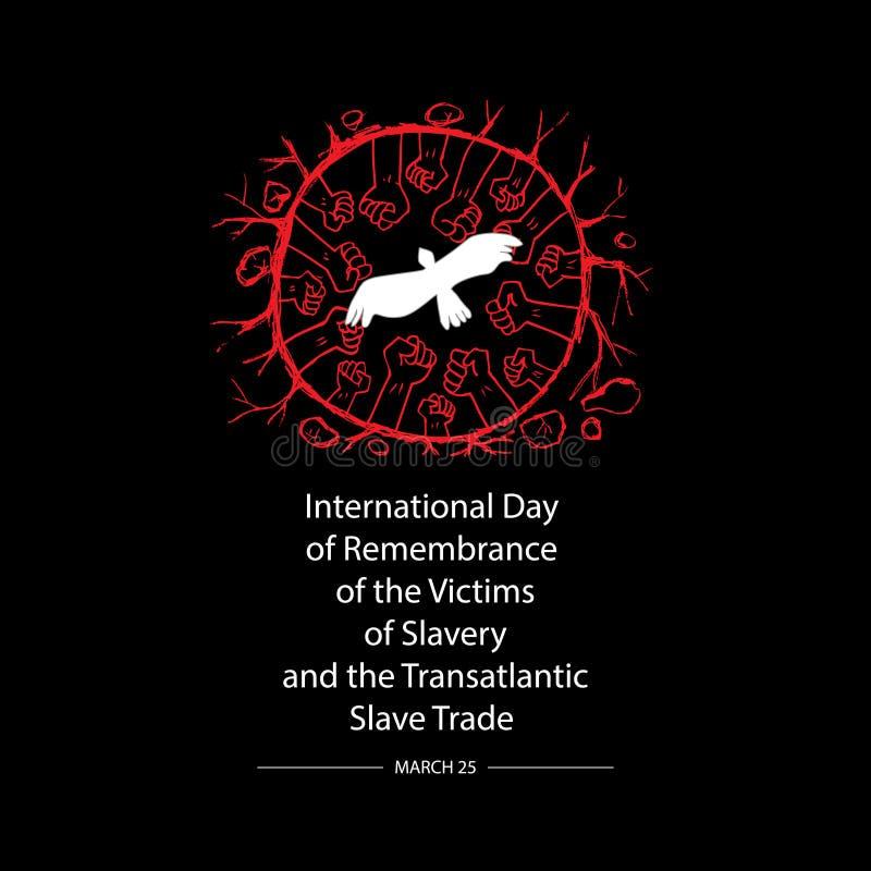 Begrepp på internationell dag av minnet av offren av slaveri och den transatlantiska slav- handeln stock illustrationer