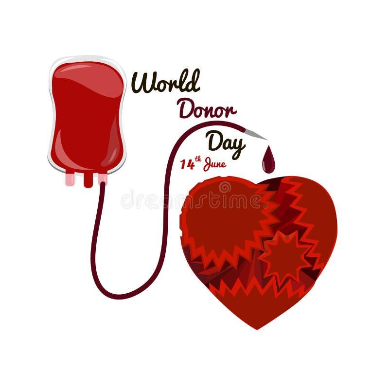 Begrepp på världsgivar-dagen Juni 14, packe för blodtransfusion med en hjärta av kugghjul royaltyfri illustrationer