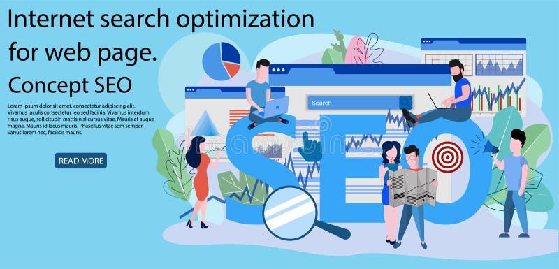 Begrepp SEO, kodifiera för webbplats för marknadsforskning vektor illustrationer